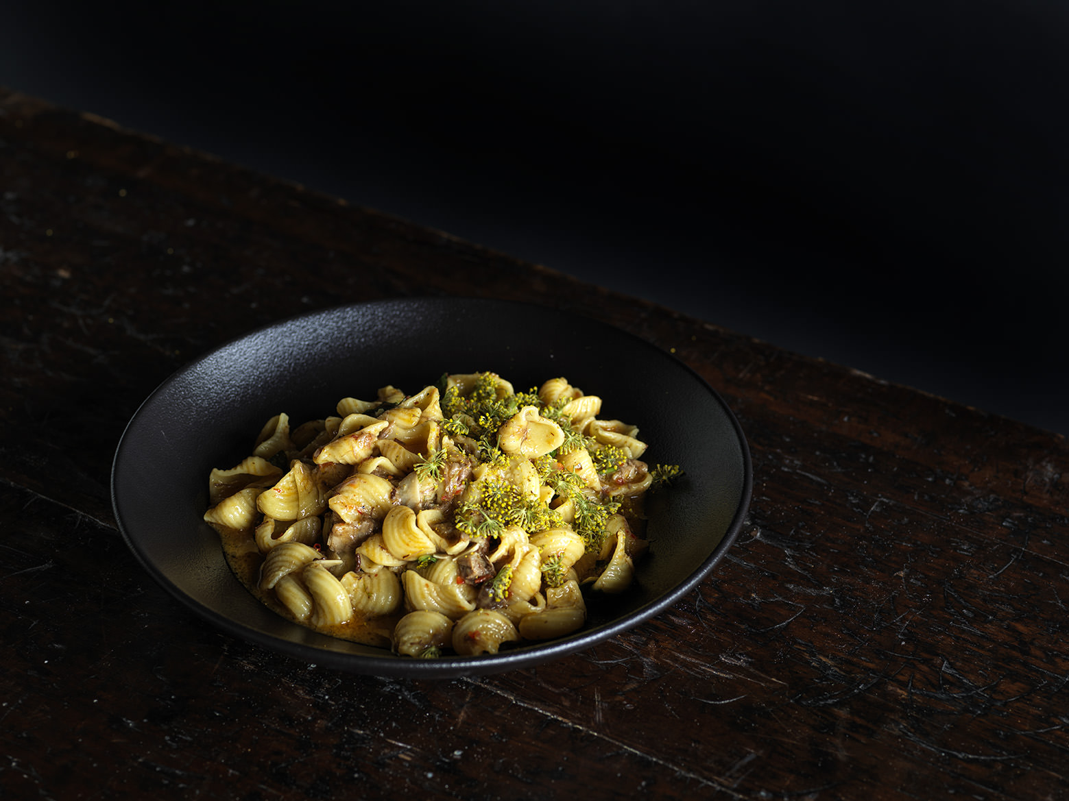 Alex's goat head and neck conchigle with XO and fennel pollen.