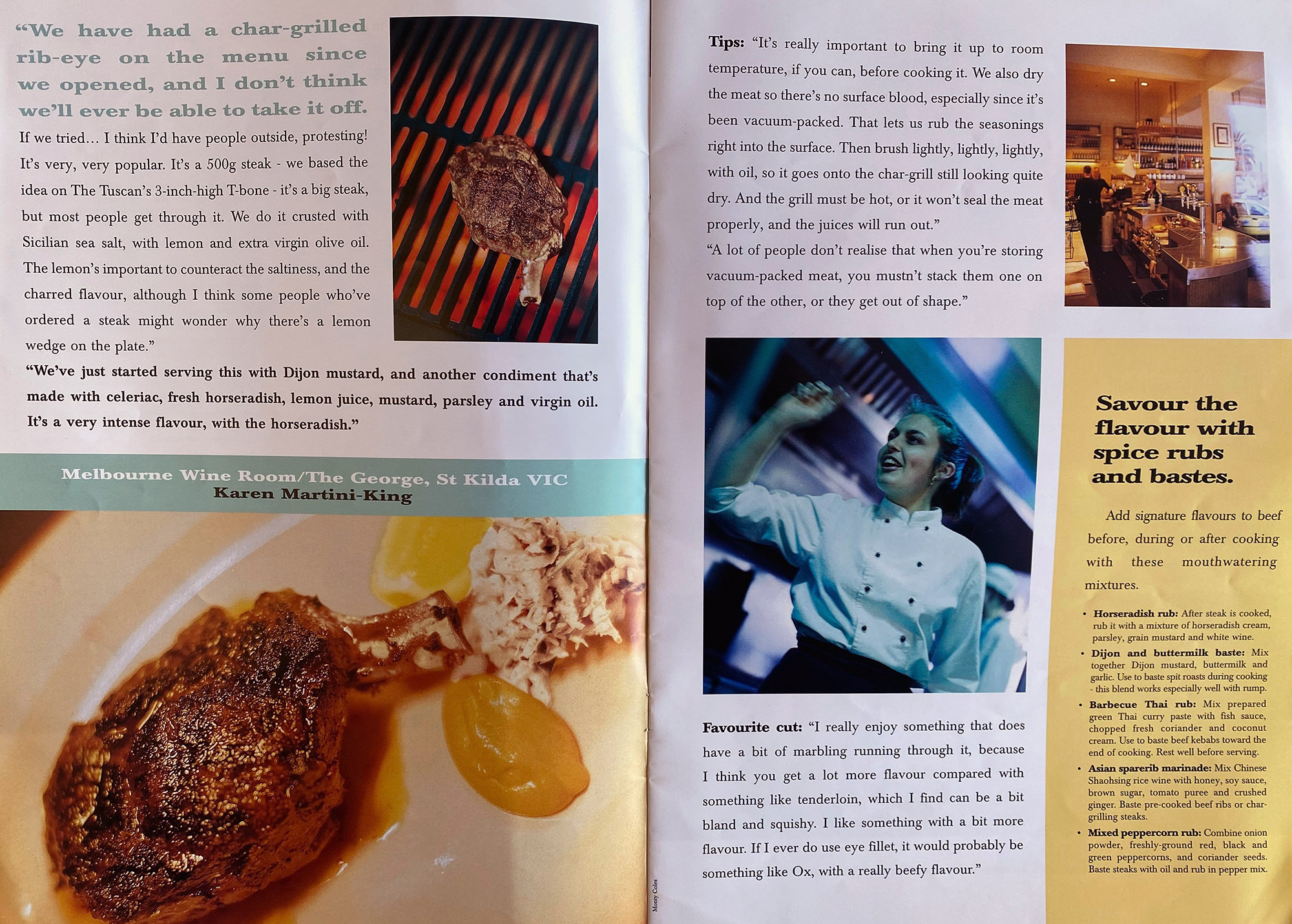 A 1996 issue of Rare Medium featuring Karen Martini and the popular 500g rib eye at The Melbourne Wine Room.