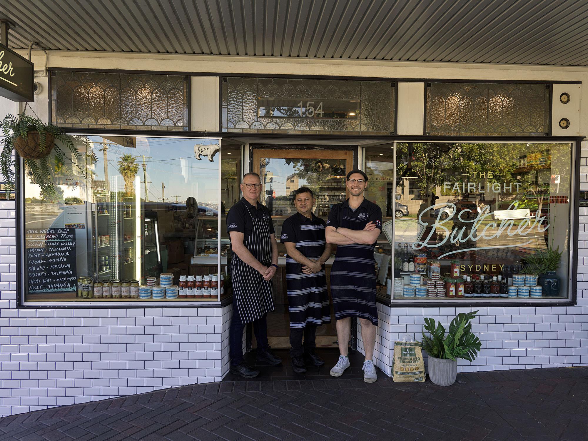 The Fairlight Butcher team outside the shop on Sydney Rd in Fairlight.