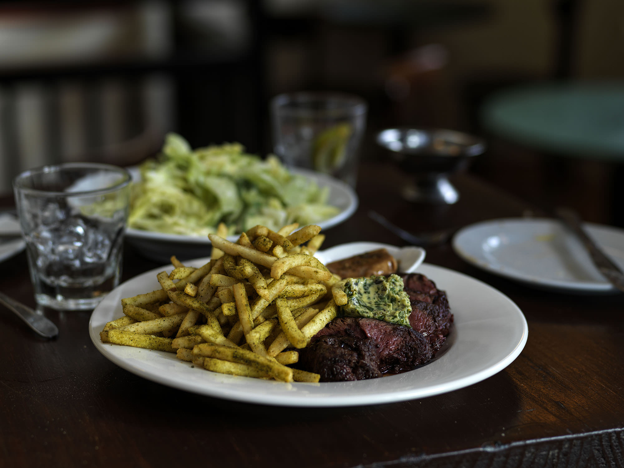 Steak frites – hanger steak with a choice of herb butter or liver butter and plenty of fries to go around.