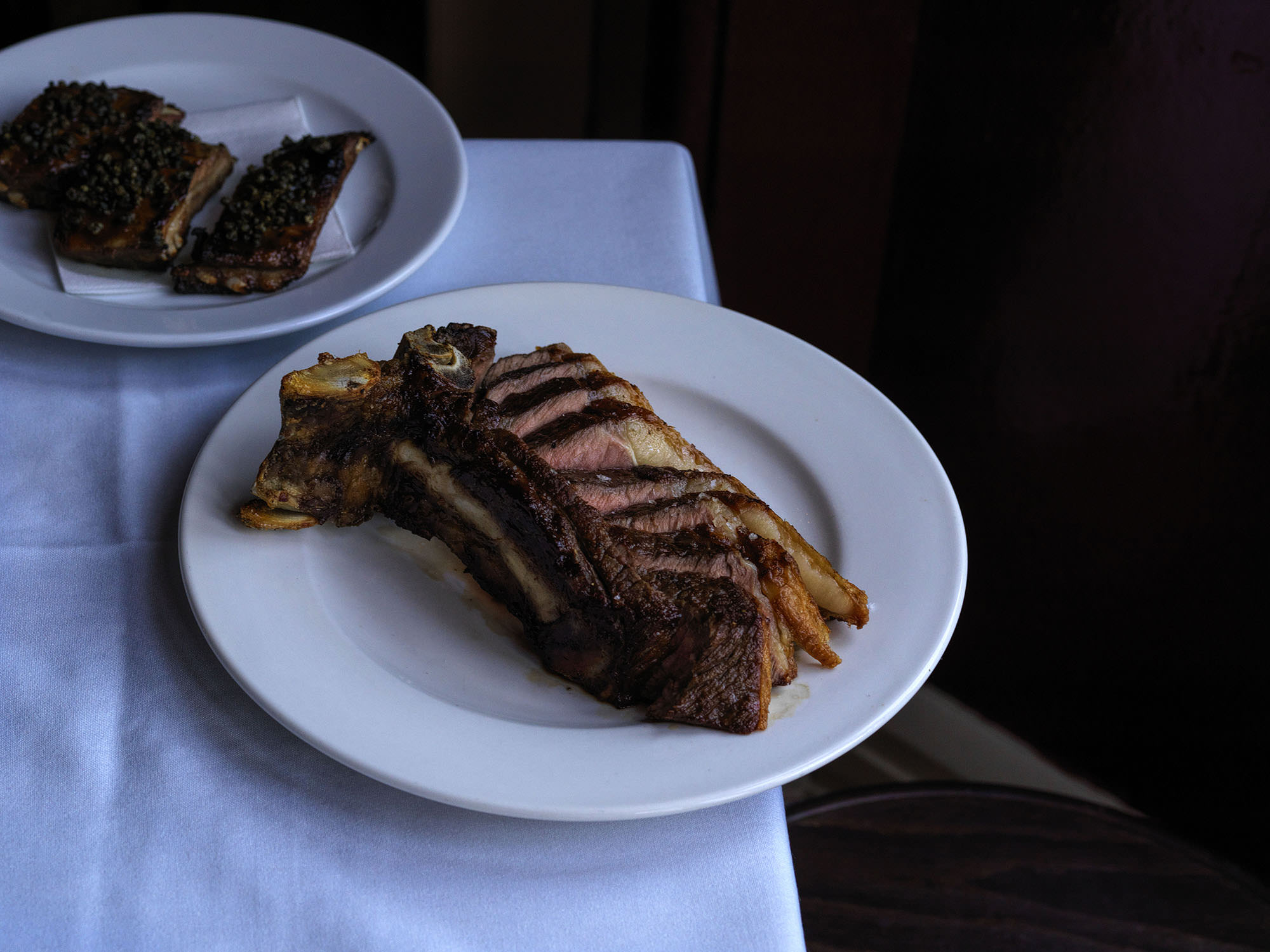 18 month old Angus sirloin dry aged for 4 weeks and served on the bone.