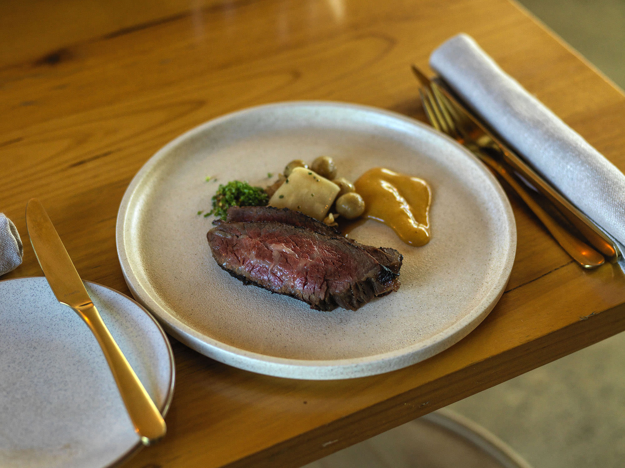 Wagyu tri-tip with beef fat dumplings. Yes, you read that right.