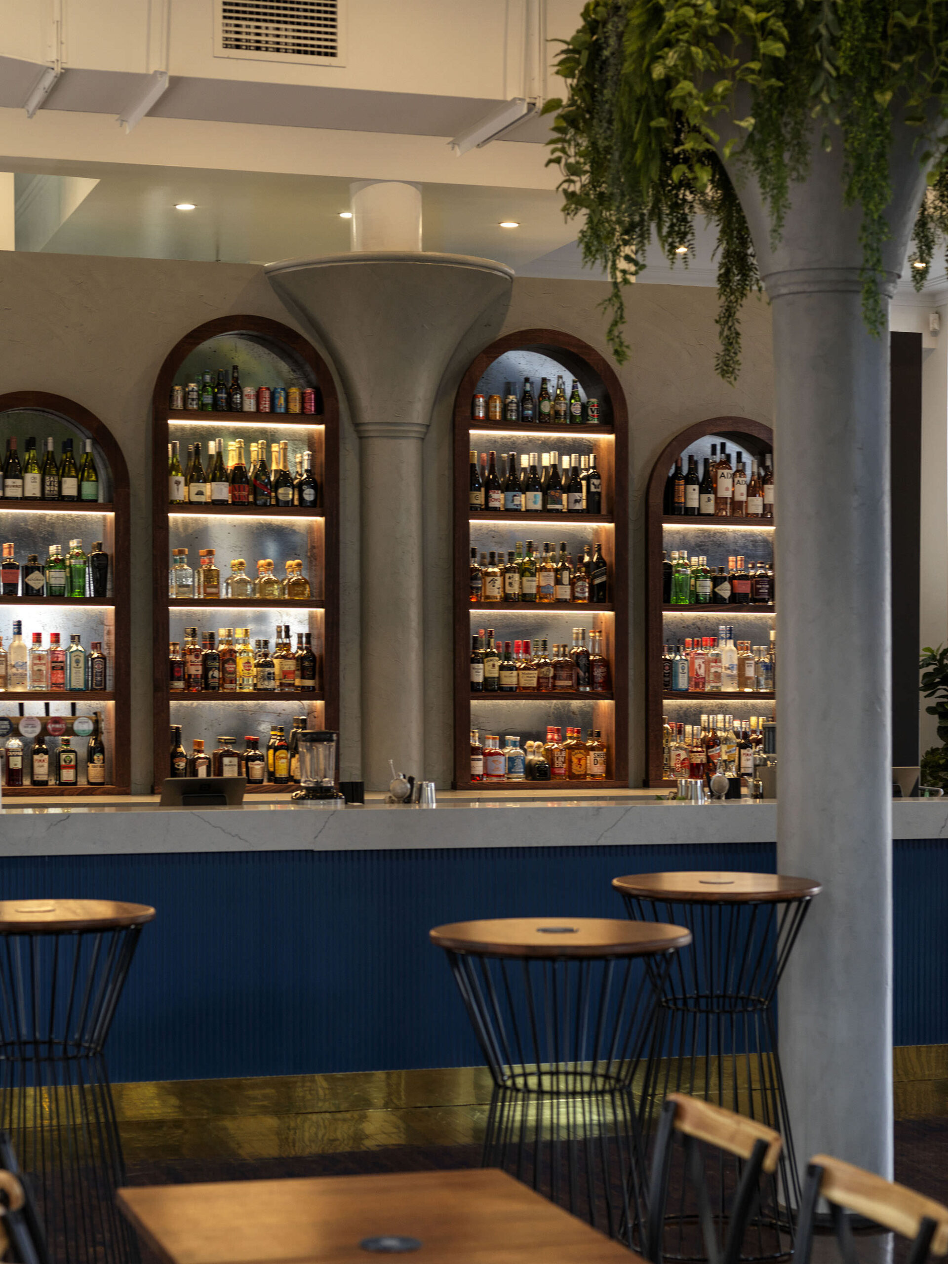 The custom made tallow wood and Rivera stone bar - home to 32 beers on tap.